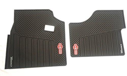 Kenworth OEM T680 Black Rubber Floor Mats w/Red Logo Fits 2013-2020 - All-Weather/Terrain