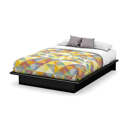 Basic Collection Platform Bed with Moulding - Queen Size - Black - Contemporary Design - by...