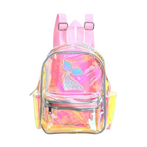 TENDYCOCO Mode Rucksack Transparent Bookbag Hologramm Schultasche Meerjungfrau für Mädchen Kinder