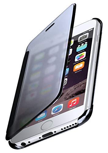 moex Dünne 360° Handyhülle passend für iPhone 6s / iPhone 6 | Transparent bei eingeschaltetem Bildschirm - in Hochglanz Klavierlack Optik, Anthrazit