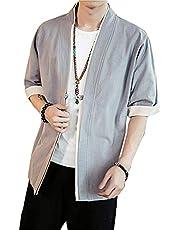 LZE シャツ メンズ 長袖 半袖 夏 オシャレ プ ビジネス カジュアル 大きいサイズ メンズリネン和着ワンボタンカーディガンジャケット