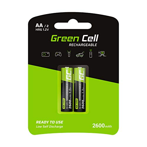 Green Cell 2600mAh 1.2V 2 Stck Vorgeladene NI-MH AA-Akkus - Akkubatterien AA/Mignon, sofort einsatzbereit, Starke Leistung, geringe Selbstentladung, wiederaufladbare Akku Batterie, ohne Memory-Effekt