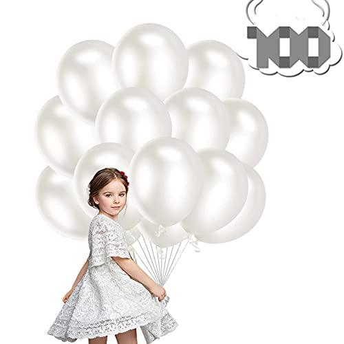 Palloncini Lattice,100 Pezzi 12 Pollici Palloncino Feste Palloncini Compleanno Matrimonio Palloncini Battesimo, per Matrimonio Baby Shower Decorazione Festa di Compleanno (bianca)