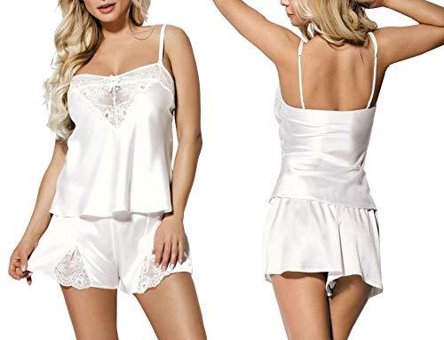 Nachtwäsche Damen Satin Pyjama Kurz Zweiteiler Shorty Schlafanzug Weiß mit Spitze Spaghettiträger Top Zala (M, Ekri)