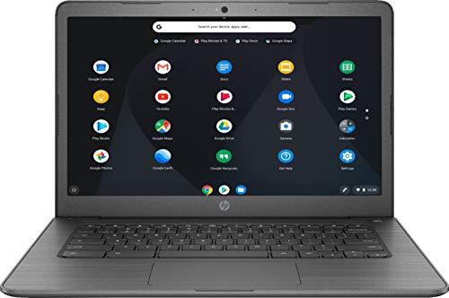 HP 14' HD 1366 x 768 WLED-Backlit Touchscreen Chromebook Laptop, Intel Celeron N3350, 4GB RAM, 32GB eMMC Flash Memory, WiFi, Bluetooth, Webcam, Media Reader, USB-C, Chrome OS, 32GB ABYS MicroSD Card