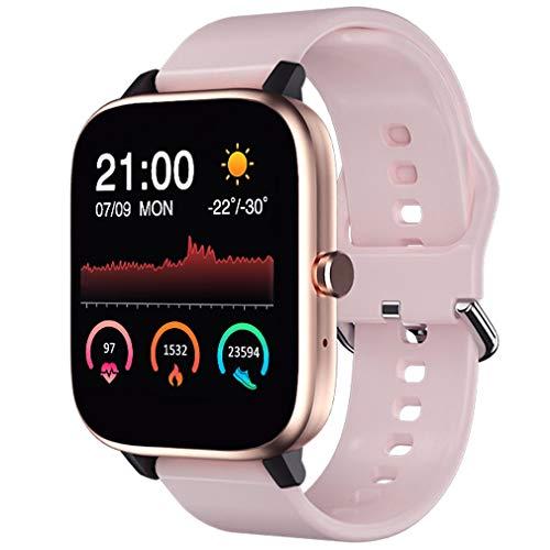 sqmanqi Smartwatch Mujer, Reloj Inteligente Deportivo 1.54 Pulgadas Táctil Completa, Monitor de Sueño, Caloría Pulsómetros Podómetro, Control de Cámara de Música, Notificación, para iOS Android Rosa