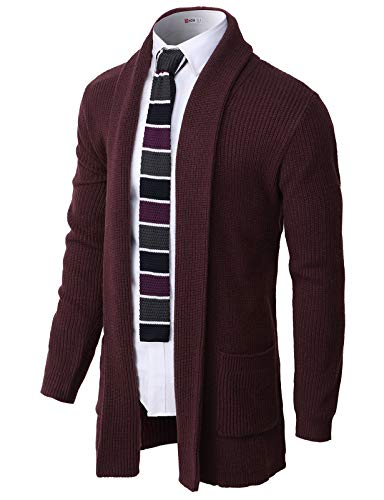 H2H Men's Casual Slim Fit Cardigan Shawl Collar Middle Line with No Button Wine US M/Asia L (CMOCAL051)