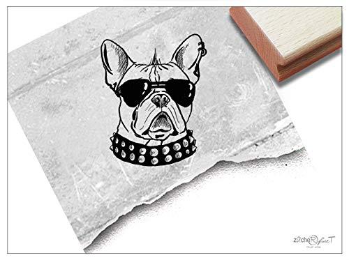 Stempel - Motivstempel Hund Bully COOL, mittel - Zeichnung Bildstempel Tierstempel Geschenk für Kinder Karten Basteln Design Kunst Deko -zAcheR-fineT