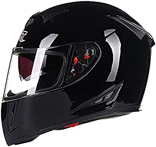 Leoie Professional Full Face Motorcycle Helmet with Flip up Dual Visor for Motorbike Riding Bright Black XL