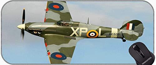 Alfombrilla de ratón con Borde de Bloqueo, aeronave de huracán Hawker Matería Grande