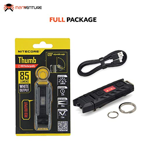Nitecore Thumb - Keyring Torch Rechargeable - White Light & Red Light - 85 Lumens - EDC Torch