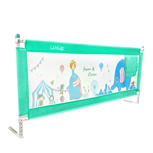 Luvlap Bed Rail Guard for Baby/Kids Safety (180 x 68 cm), Portable & Foldable Bed Rail (Green)