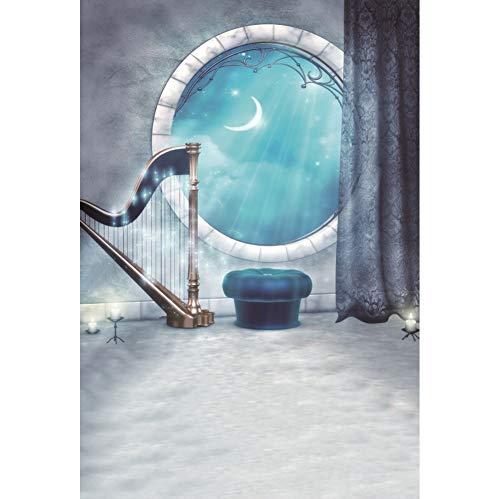 Yeele 2,5x3m Fotografie achtergrond Voor Fairy Tale Rond raam Maanlicht Glitters Harp Gordijn Wonderland Fotografie voor achtergrond Castle Adventure Partij Fotoshoot Rekwisieten