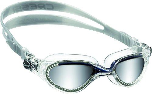 Cressi Flash, Occhialini Nuoto a Oculari Separati Infrangibili Antiappannamento, AntiGraffio, Anti UV Unisex – Adulto, Trasparente/Blu/Lenti Specchiate, Taglia Unica