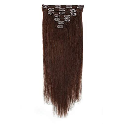 Extensions de cheveux humains raides à clipser 35,6-50,8 cm - Blond noir naturel, brun doré/blond décoloré / 8A / marron moyen