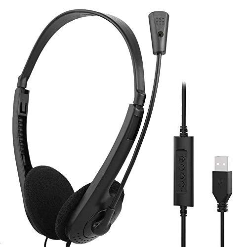 ARMYU Auriculares USB Estéreo con Micrófono Cancelación de Ruido y Controles de Audio, Auriculares Micrófono PC para Skype, Centros de Llamadas, Oficinas, Llamadas de Conferencias