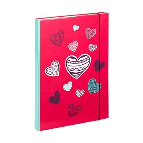 Baagl Heftbox für Schulranzen A4 - Sammelmappe für Kinder mit Gummiband und Innenklappen - Heftmappe, Sammelbox mit Gummizug für Mädchen (Hearts)