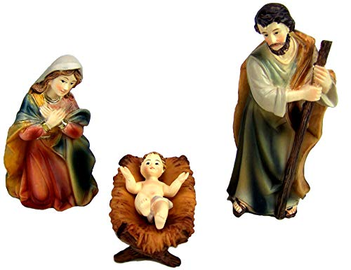 Krippenfiguren HL. Familie. Markus Krippe 12 cm. aus Polyresin, bemalt.