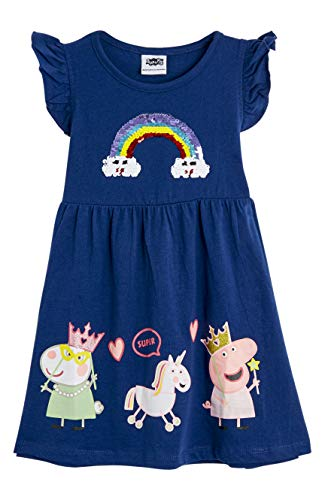 Peppa Pig Kleid | Rosa Ärmelloses Kinderset | Kleider Mädchen Sommer Baumwolle | Mädchen Regenbogen Kleid Mit Glitzer | Kleider Fur Kinder | Geschenk Für Mädchen Bis Zu 7 Jahren (2-3 Jahre, Navy)