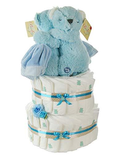 dubistda© Windeltorte Zwillinge Bärenbrüder inkl. 2x Teddybär Spieluhren | Geschenk für Zwillinge zur Geburt / 50-teilig (blau/blau)