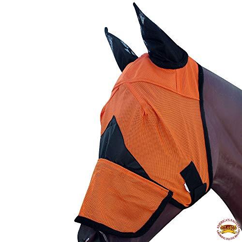 HILASON Horse Size Western Fly Mask Uv Protection Insects Orange Black