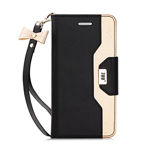 FYY Leather Case with Mirror for Galaxy S7 Edge, Leather Wallet Flip Folio Case with Mirror and Wrist Strap for Galaxy S7 Edge Black