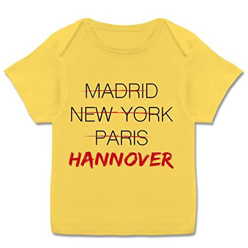 Städte & Länder Baby - Weltstadt Hannover - 56-62 (2/3 Monate) - Gelb - Baby Hannover - E110B - Kurzarm Baby-Shirt für Jungen und Mädchen