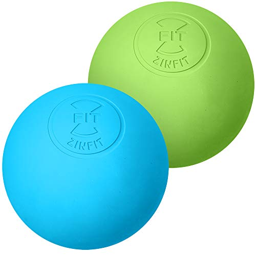Premium Lacrosse Massage Balls Set by ZinFit - Lacrosse Ball for Myofascial Release, Trigger Point Therapy, Muscle Knots, Roller Yoga Therapy Massager Hard & Firm Rubber - Pack of 2 (Green Blue)