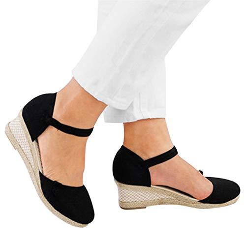 Sommerschuhe für Damen,Dorical Frauen Vintage Sandaletten,5.5 cm Keilsandaletten,Casual Plateausandalen,Klassische Espadrille-Absätze Damenschuhe,Rutschfest 34-40 EU Ausverkauf(Schwarz,38EU)