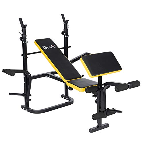 Adjustable Weight Bench with Squat Rack, Doufit WB-04...