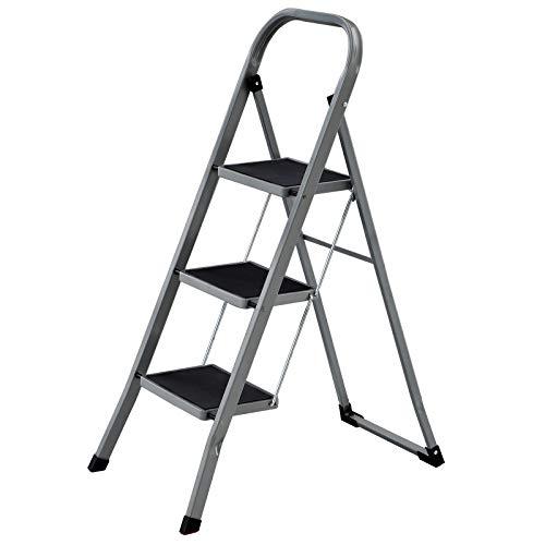 SONGMICS Klapptritt mit 3 Stufen, Trittleiter, Leiter, 20 cm breite Stufen mit rutschfesten Gummimatten, Anti-Rutsch-Füße, mit Handlauf, bis 150 kg belastbar, aus Stahl, grau-schwarz GSL003GY01