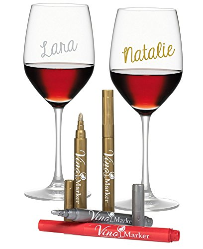 Vino Marker Metallic Wine Glass Washable Pens (4 pack) - Perfect Housewarming Present or Hostess Gift for Wine Tastings, Dinner Parties, or Any Event