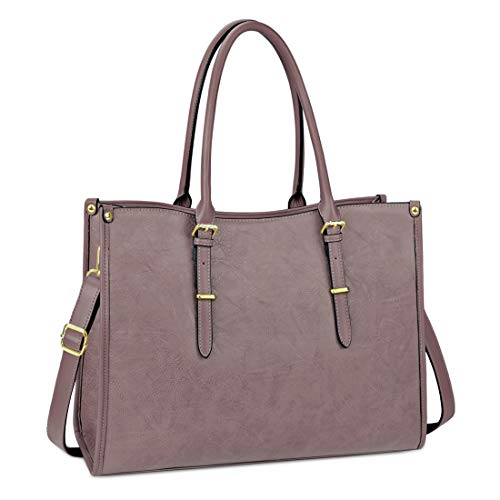 Laptop Bags for Womens Ladies Handbags 15.6 Inch Large Shoulder Tote Bag Leather Laptops Briefcase for Office School Travel Work Business Purple