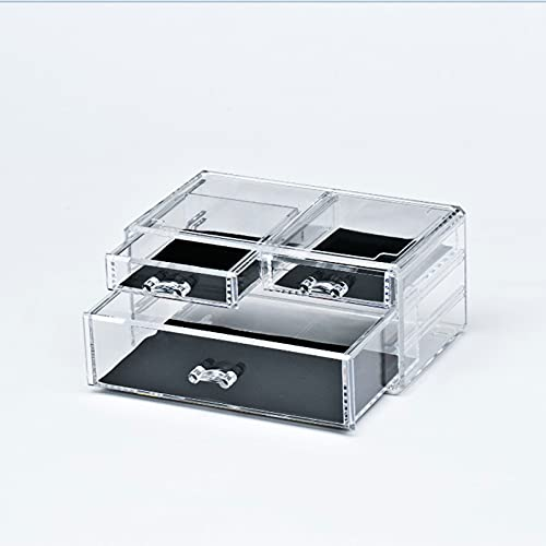 YUEWEIWEI Caja de Almacenamiento de Organizador de Maquillaje cosmético con cajones de Escritorio X-Grande Mostrar Caja de Almacenamiento de Soltero para cómoda, vanidad, Claro