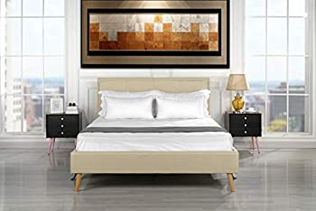Casa Andrea Mid Century Modern Upholstered Bed Frame with Tufted Headboard Queen Beige