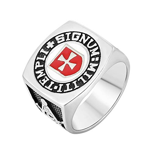 Stilvolle Einfachheit Vintage Freimaurer Freimaurer Rotkreuz Ring Edelstahl Silber Schwarz Ringe, Größe P, LQS, v