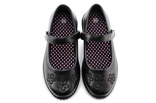 JABASIC Girls Mary Jane Dress Shoes Strap School Uniform Flats (13,Black-2)