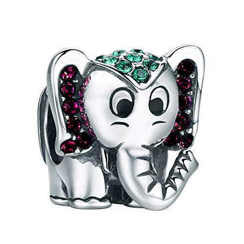 YOUFENG Jewellery Lucky Elephant Charm for Charms Bracelet Cute Animals Enamel Charms Birthday Gifts