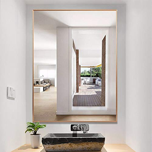 Rechteckige Badezimmer Wandspiegel Rasierspiegel Schminkspiegel, Modern Aluminiumrahmen Spiegel, dekorativer Spiegel für Schlafzimmer Wohnzimmer Flur
