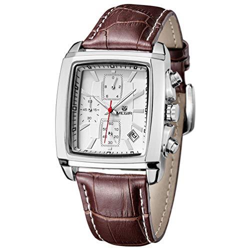 Relojes para Hombre Moderno, Reloj Rectángulo Blanca, Relojes Militar de Lujo de Cuero Marrón con Calendario Reloj de Pulsera de Cuarzo para Hombres, Resistente al Agua
