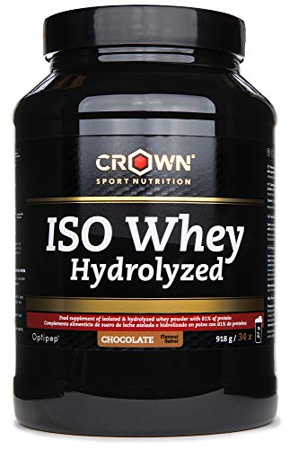 Crown Sport Nutrition ISO Whey Hydrolyzed Optipep 90, Proteína de Suero de Leche Hidrolizada, Sabor de Chocolate - 918 g