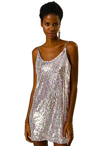 Allegra K Women's Glitter Sparkle Adjustable Strap Mini Party Sequin Dress Medium Silver (with Pinks)