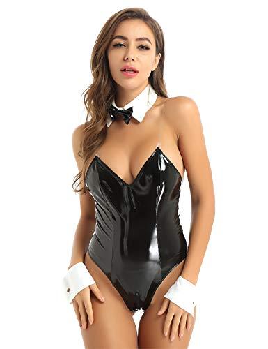 Freebily Damen Wetlook Body Sexy Kostüm Bunny Girl Cosplay Dessous Set Lackleder Babydoll Teddy Bodysuit Jumpsuit Halloween Smoking Unterwäsche Schwarz M