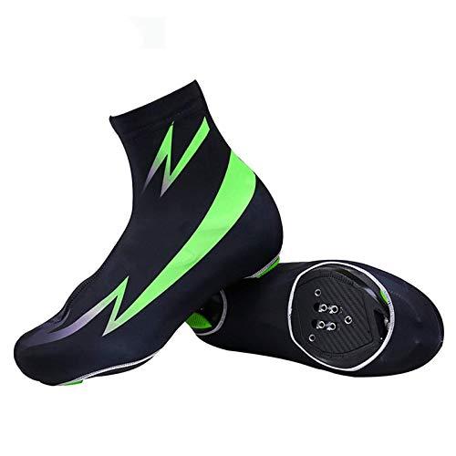 TEET Cubrezapatos de ciclismo para ciclismo, impermeables, resistentes al viento, para deportes de MTB, protectores para zapatos de bicicleta de carretera, bicicleta de carreras, talla L, color verde