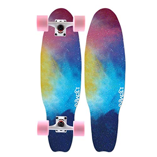 Komplette Skateboards Kreuzer-Skateboard 7-lagiges Ahorndeck Doppelseitiges Druckmuster ABEC-9 Hochgeschwindigkeitslager Trick-Skateboarding (Color : B-68CM(27IN))