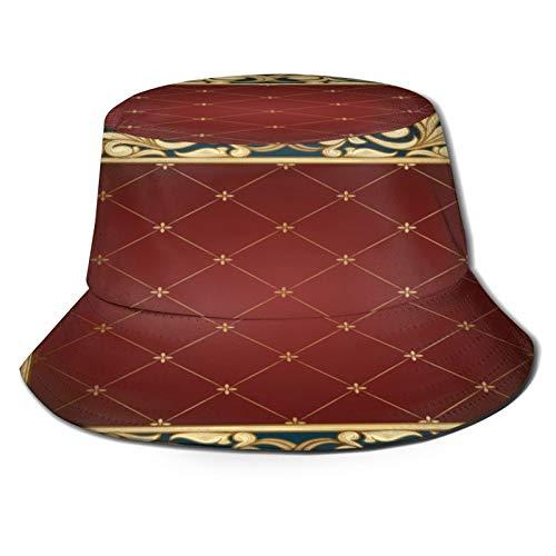 RUEMAT Sombrero Pescador Unisex,Tarjeta Vintage Decorativa Dorada,Plegable Sombrero de Pesca Aire Libre Sombrero Bucket Hat para Excursionismo Cámping De Viaje Pescar