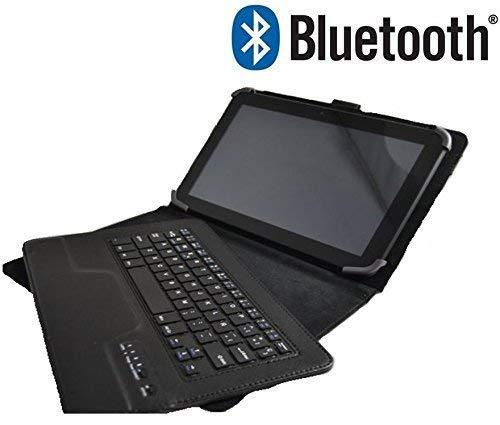 Theoutlettablet® Funda con Teclado Bluetooth Extraíble para Tablet SPC Gravity Pro / 4G / 3G de 10.1 Pulgadas HD Color Negro