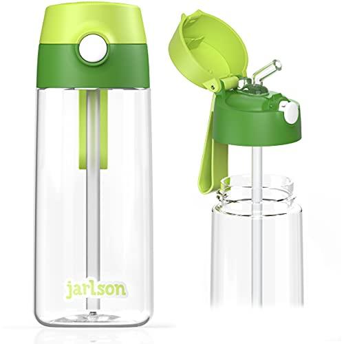 JARLSON® Borraccia Bambini, Bottiglia 500 ml, Senza BPA, Bottiglia Acqua con Cannuccia, per la scuola e l'asilo, realizzato in plastica di alta qualità (verde)