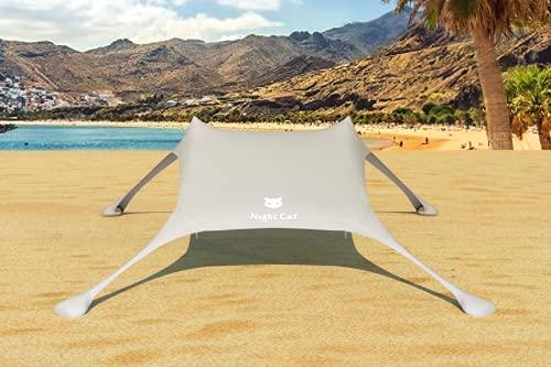 Night Cat Strandzelt Lycra Schatten Zelt Strandmuschel Sonnensegel Sun Shelter UV-Schutz UPF 50+ mit Sandsack Anker für Strand Picknick Angeln Camping
