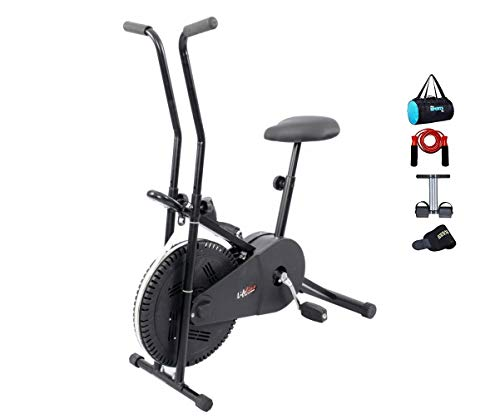 Lifeline Exercise Bike Combo (Black) with Gym Bag, Sweat Belt,...